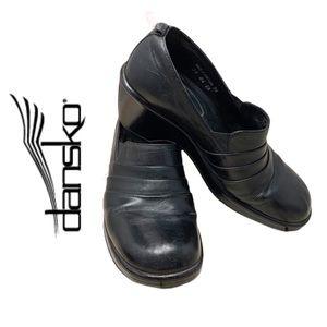 Dansko- Black Leather Slip on Wedge Mule 38/ 7.5-8